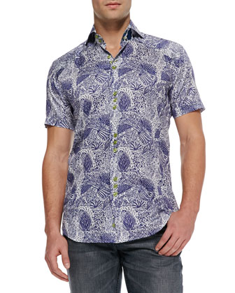Mini D-Matis Printed Sport Shirt, Navy