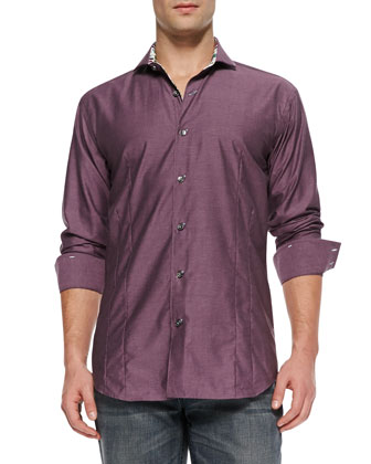 Giorgio F Solid Sport Shirt, Purple