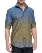 Long-Sleeve Ombre Shirt, Navy/Green