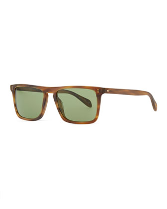 Bernardo Rectangular Sunglasses, Matte Sandalwood