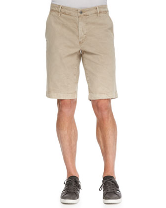 Griffin Flat-Front Shorts, Beige