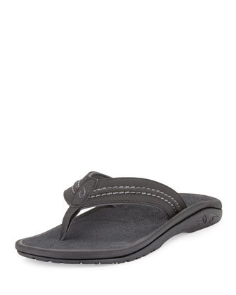 Hokua Men's Thong Sandal, Black/Gray