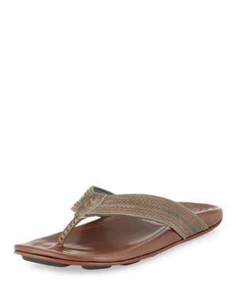 Po??okela Men's Leather Thong Sandal, Charcoal/Dark Java