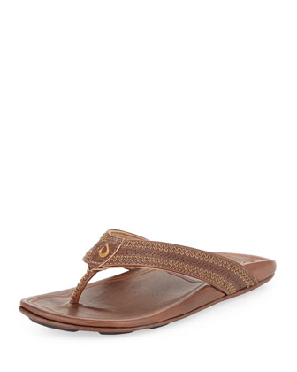 Po??okela Men's Leather Thong Sandal, Dark Java
