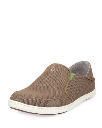 Nohea Mesh Slip-On/Fold-Back Sneaker, Mustang/Lime Peel