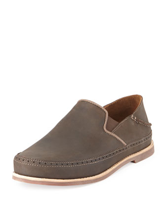 Honolulu Leather Convertible Slip-On, Dark Wood