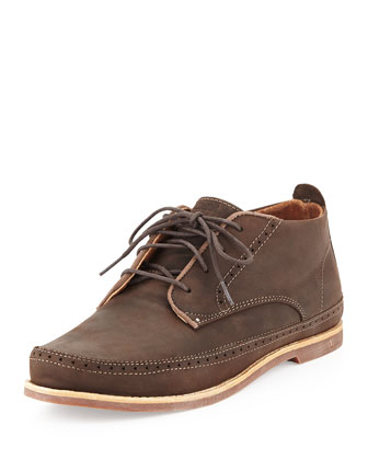 Honolulu Waxed Leather Boot, Dark Brown