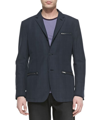 Tonal-Plaid Zip-Pocket Sport Coat, Indigo