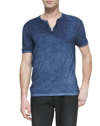 Short-Sleeve Split-Neck Henley, Blue