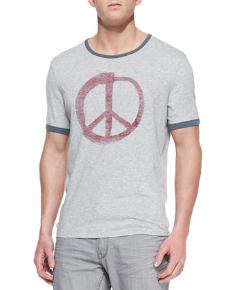 Peace-Sign Graphic Ringer Tee, Gray