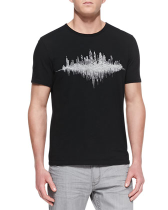 NYC Skyline Crewneck Tee, Black