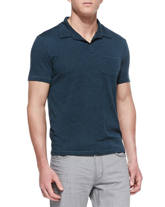 Patch-Pocket Short-Sleeve Polo, Blue