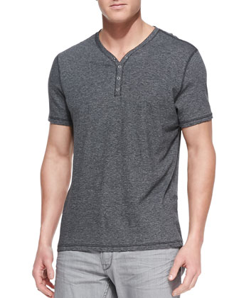 Striped Short-Sleeve Henley, Gray