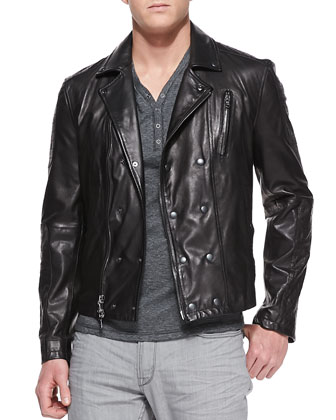 Trapunto Leather Biker Jacket, Back