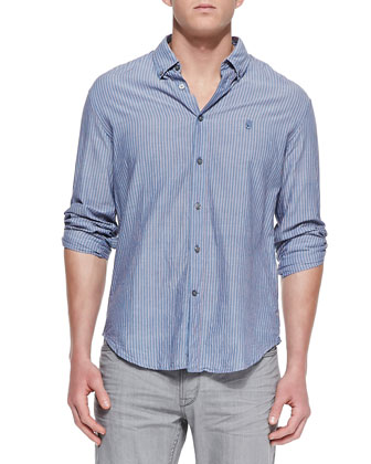 Striped Button-Down Shirt, Navy