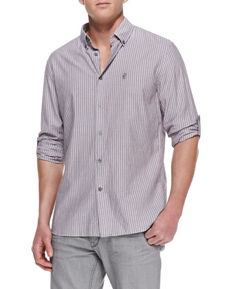 Striped Button-Down Shirt, Purple