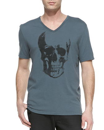 Skull-Print V-Neck Tee & Bower Denim Jeans