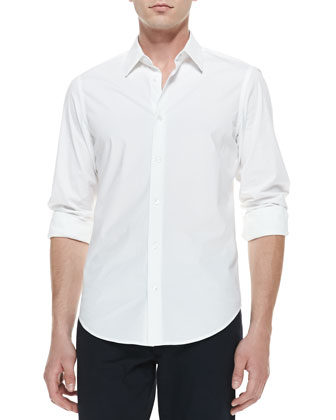 Long-Sleeve Button-Down Shirt, White