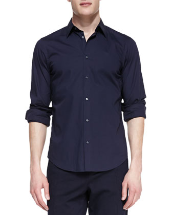 Long-Sleeve Poplin Shirt, Navy