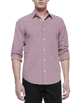 Long-Sleeve Gingham Shirt, Red