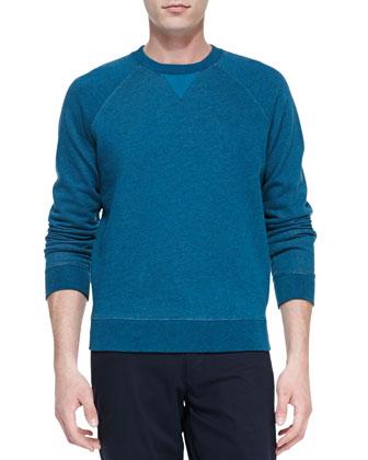 Long-Sleeve Crewneck Sweatshirt, Teal