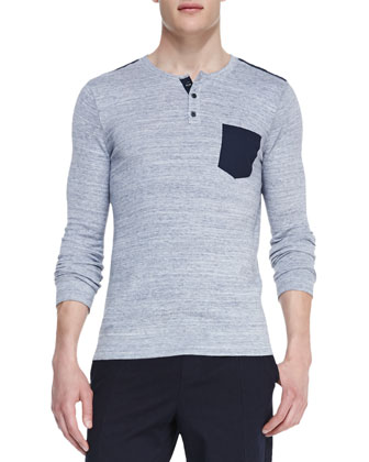 Knit Pocket Henley, Gray