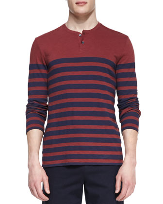 Long-Sleeve Striped Henley Tee, Red/Navy
