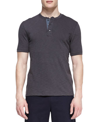 Flame Jersey Short-Sleeve Henley, Gray