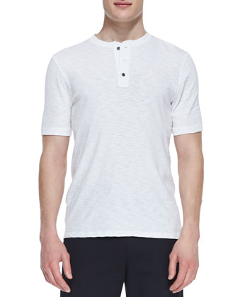 Jersey-Flame Short-Sleeve Henley, White