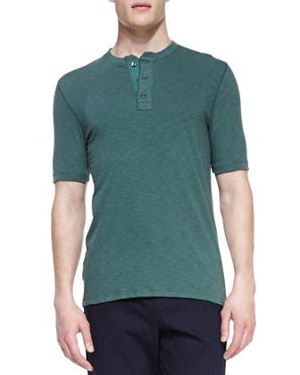 Jersey-Flame Short-Sleeve Henley, Green
