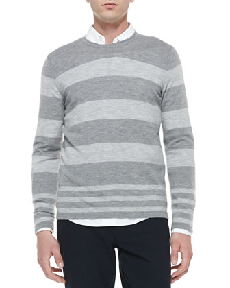 Long-Sleeve Crewneck Striped Wool-Cashmere Sweater, Gray
