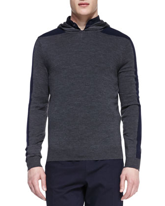 Racing-Stripe Hooded Pullover, Gray
