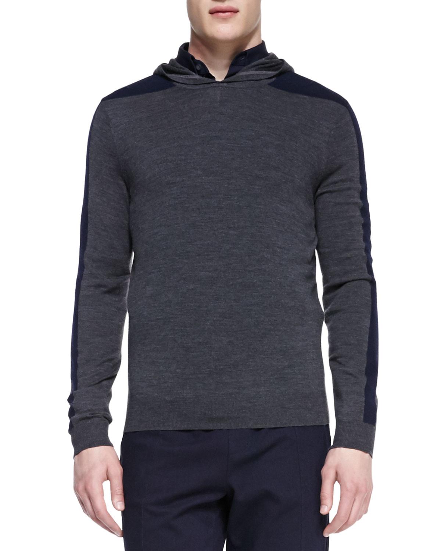 Mens Racing Stripe Hooded Pullover, Gray   Vince   Grey (MEDIUM)