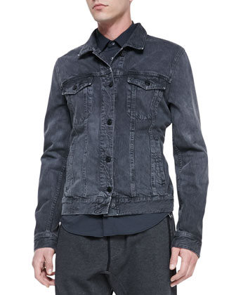 Washed Classic Denim Jacket, Gray
