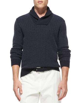 Cashmere Shawl-Collar Pullover Sweater, Navy