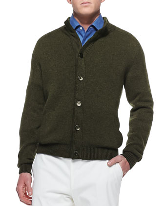 Lightweight Cashmere Cardigan, Brown/Green