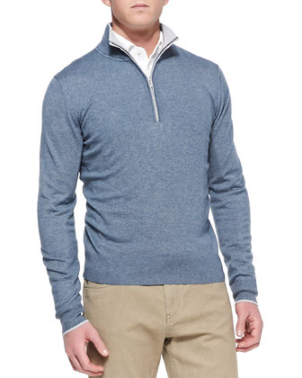 Mezzocollo Portland 1/4-Zip Sweater, Blue