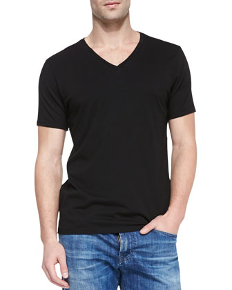 Short-Sleeve V-Neck T-Shirt, Black