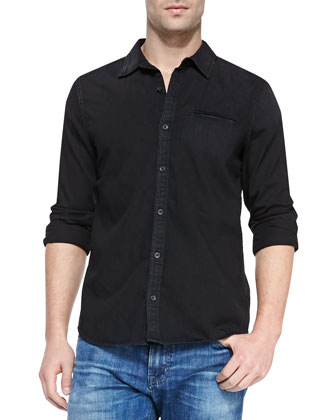 Long-Sleeve Denim Shirt, Black