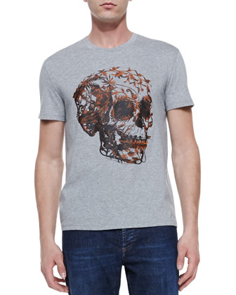 Floral-Skull-Print Tee & Stone Wash Stretch-Denim Jeans
