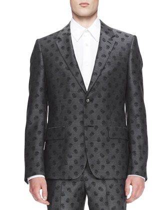 Allover Skull-Print Jacket, Gray