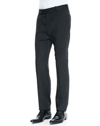Wool/Mohair Basic Trousers, Black