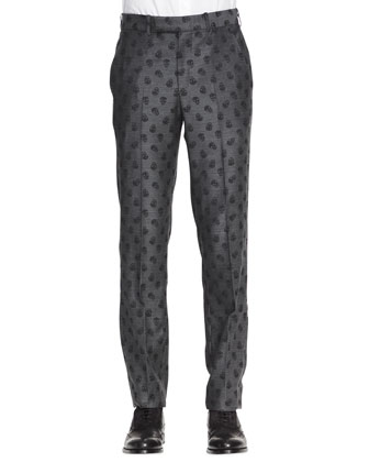 Allover Skull-Print Trousers, Gray