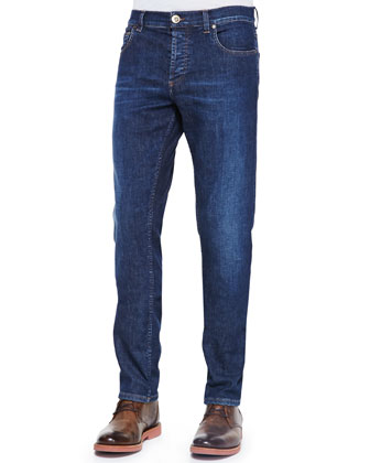 Stone-Wash Stretch-Denim Jeans