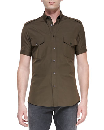 Short-Sleeve Military Shirt, Olive Green