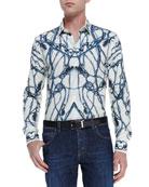 Thistle-Print Long-Sleeve Shirt, Ivory/Blue