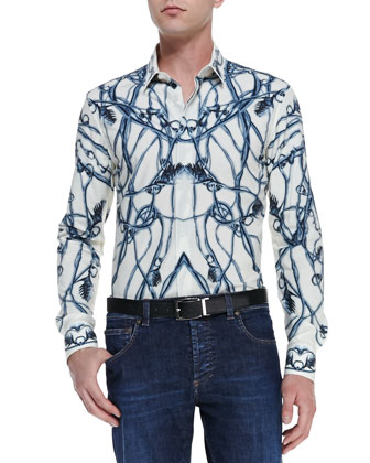 Thistle-Print Long-Sleeve Shirt, Ivory/Blue