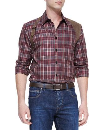 Plaid Leather-Harness Shirt, Bordeaux