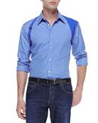 Contrast Harness Shirt, Blue