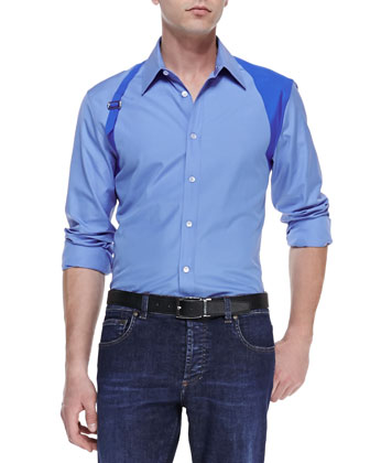 Contrast Harness Shirt & Stone-Wash Stretch-Denim Jeans
